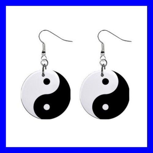 Button Dangle Earrings YING YANG Tai Chi Kung Fu Chinese Taijitu (12141677)