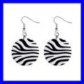 Button Dangle Earrings ZEBRA SKIN Print Pattern Horse Jungle Zoo (12428261)