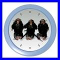 Color Wall Clock 3 MONKEYS See Hear Speak Zoo Animals Weird Fun (27200087)