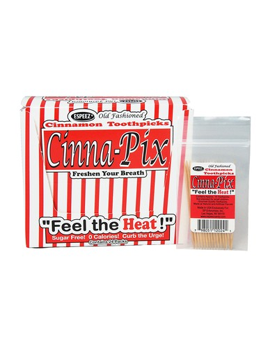 box of 24 cinna pix hot cinnamon toothpicks soda. Black Bedroom Furniture Sets. Home Design Ideas