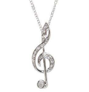 silver treble clef pendant necklace karams