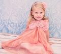girls coral layered chiffon dress KD325