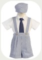 blue cotton seersucker suspender shorts outfit baby or toddler boys G822