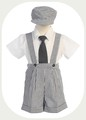 charcoal grey seersucker suspender shorts outfit baby or toddler boys G822