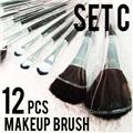 12 PCS Cosmetic Makeup brushes set Artificial Hair w/ Pattern pouch 047 Style C