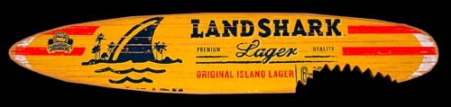 Landshark Lager Surfboard Shark Bite Sign