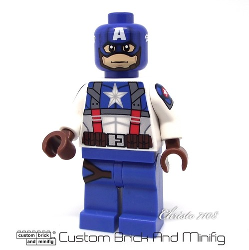 Custom lego captain america custom brick and minifig - Lego capitaine america ...