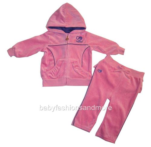 Ecko Red baby girls 2 pc soft feel velour outfit, jacket & pants