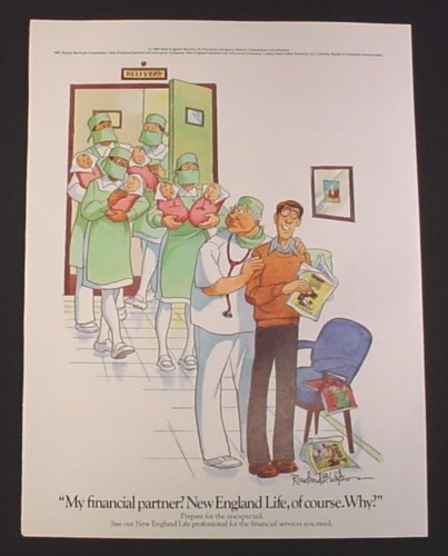 Magazine Ad for New England Life, 1984, 5 babies coming out of delivery room