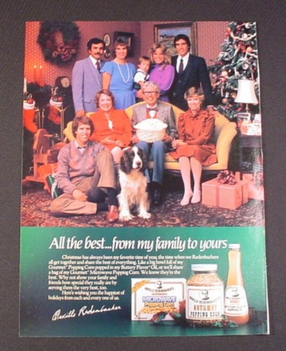 Magazine Ad for Orville Redenbacher Popcorn, 1984, Christmas Theme