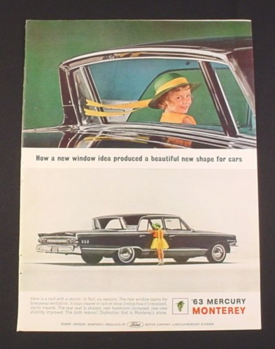 Magazine Ad for '63 Mercury Monterey Car, 1962, Rear Window Opens