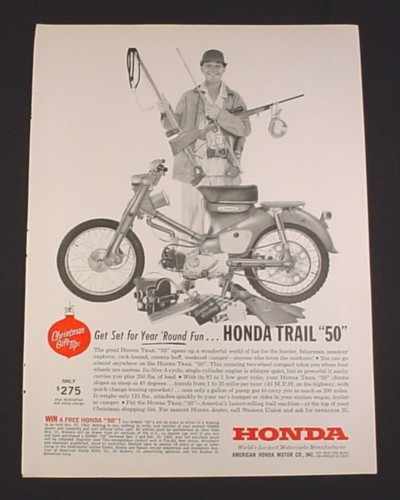 "Magazine Ad for Honda trail ""50"" Motorcycle, 1962, Only $275"