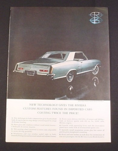 Magazine Ad for Buick Riviera Car, 1962, Side Rear View of Car
