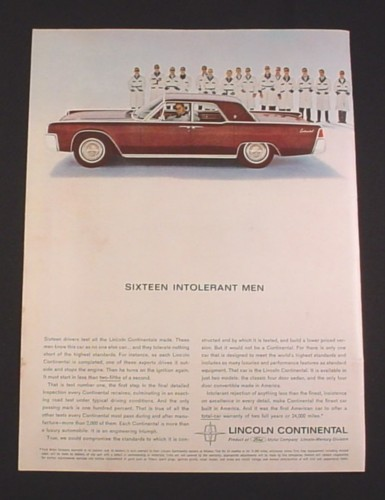 Magazine Ad for Lincoln Continental, 1962, Side View of Car