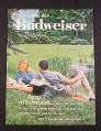 Magazine Ad for Budweiser Beer, Picnic in a Park,