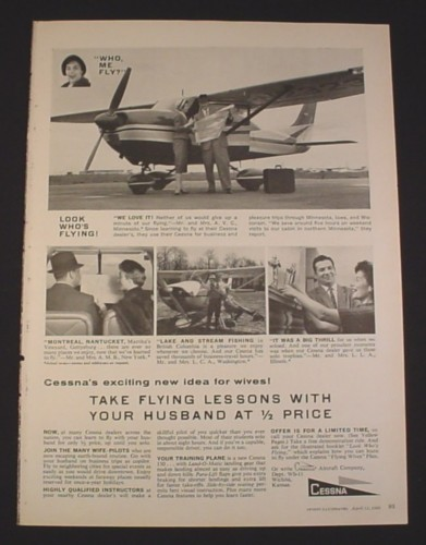 Magazine Ad for Cessna, 1960, Husband & Wife Pilots