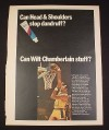 Magazine Ad for Head & Shoulders Shampoo, 1969, Wilt Chamberlain