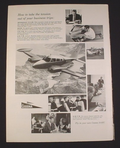 Magazine Ad for Cessna 310H Airplane, 1963, Business People