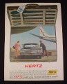 Magazine Ad for Hertz Rent A Car, 1963, Suitcase & Airplane