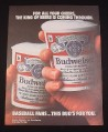 Magazine Ad for Budweiser Beer, 1987, Plastic Cups of Beer
