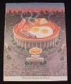 Magazine Ad for Denny's Restaurant, 1987, Stadium with Breakfast platter