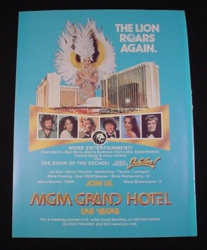 Magazine Ad for MGM Grand Hotel Las Vegas, 1981, Dean Martin