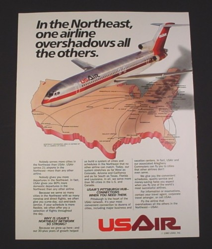 Magazine Ad for USAIR Airline, 1984, 737 Jet with N316AU
