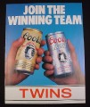"Magazine Ad for Coors Beer, 1984, 2 Cans, ""Join the Winning Team"""