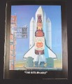 Magazine Ad for Schmidt Beer, 1984, Bottle on the NASA Space Shuttle