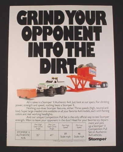 Magazine Ad for Stomper II Toy Truck, 1984, Competition Pull Set, Schaper