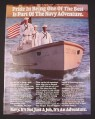 Magazine Ad for U.S. Navy Recruitment, 1984, Sailors in launch