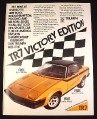 Magazine Ad for Triumph TR7 Victory Edition Car, 1976, Black Vinyl Top