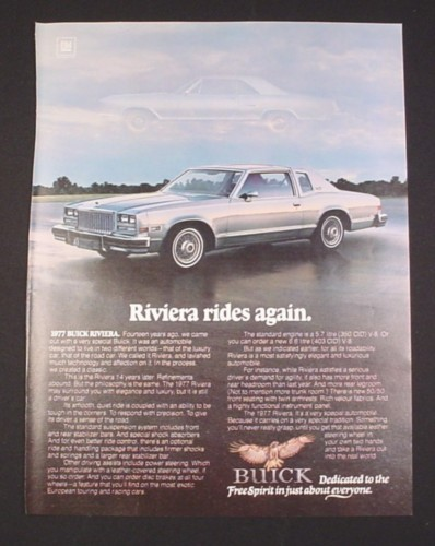 "Magazine Ad for 1977 Buick Riviera Car, 1976, ""Riviera rides again"", 8"" by 10 3/4"""