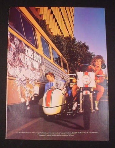 Magazine Ad for Budweiser Beer, 1983, Motorcycle Sidecar, Bud Cans