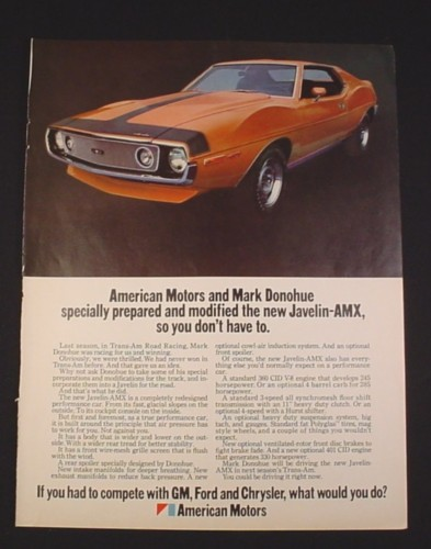 Magazine Ad for Javelin AMX car, 1970, American Motors & Mark Donohue