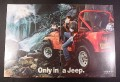 Magazine Ad for Jeep CJ Car, 1984, Man shaving by a waterfall
