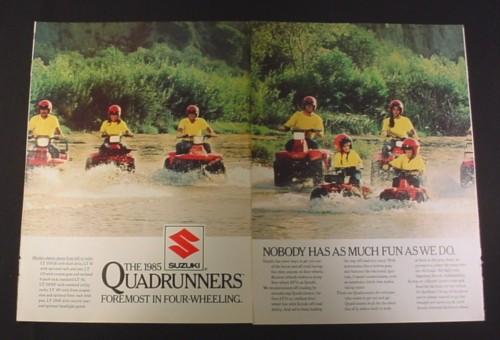 Magazine Ad for 1985 Suzuki Quadrunners, 1984, 7 ATV Vehicles