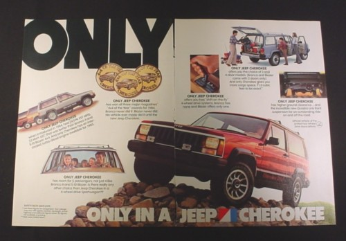 "Magazine Ad for Jeep Cherokee car, 1984, ""Only in a Jeep Cherokee"""