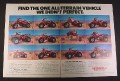 Magazine Ad for Honda ATV lineup, 1984, 11 Models & a Donkey