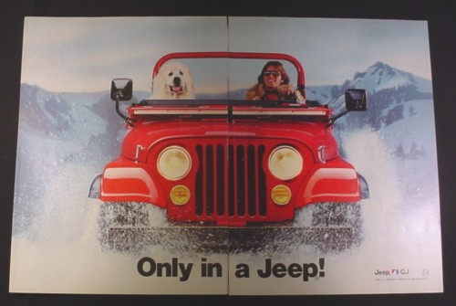 Magazine Ad for Jeep CJ  car, 1984, Red Jeep blasting through snow