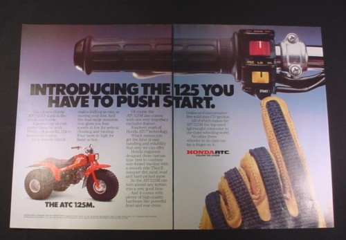 Magazine Ad for Honda ATC 125M ATV, 1985, Electric start