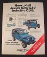 Magazine Ad for Jeep CJ-7 Car, 1976, Blue Renegade Jeep