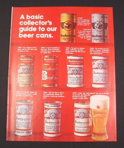 Magazine Ad for Budweiser Beer, 1976, 9 Can designs 1936 to 1976