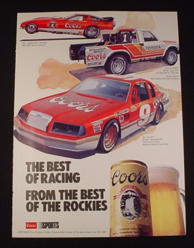Magazine Ad for Coors Beer 1984 3 Race Cars & Trucks The Best of racing