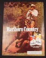 Magazine Ad for Marlboro Cigarettes, 1984, Cowboy on Horse with rope