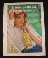 Magazine Ad for Sauza Tequila, 1976, Woman in Hammock