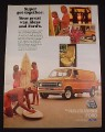 Magazine Ad for Ford Econoline Van, 1976, Surfers at the Beach