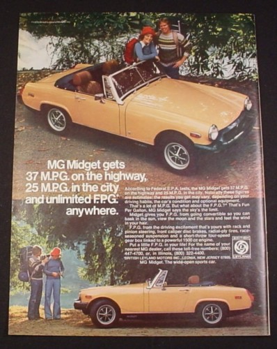 Magazine Ad for MG Midget Car, 1976, Gold Convertible