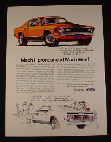 Magazine Ad for Ford Mach 1 Mustang, 1970, Orange, Line drawings