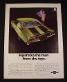 Magazine Ad for Chevrolet Camaro Z28 Car, 1970, Rear view, Green